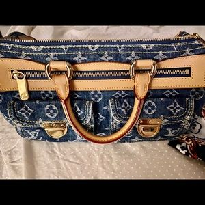 Authentic Louis Vuitton Neo Denim Satchel Bag